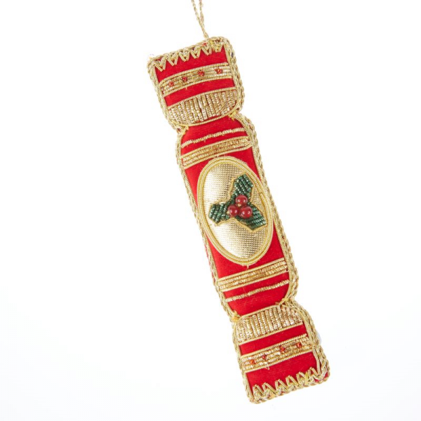 Red Cracker with Holly Christmas Decoration