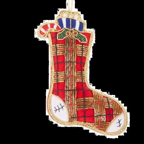 Red Tartan Stocking Christmas Decoration