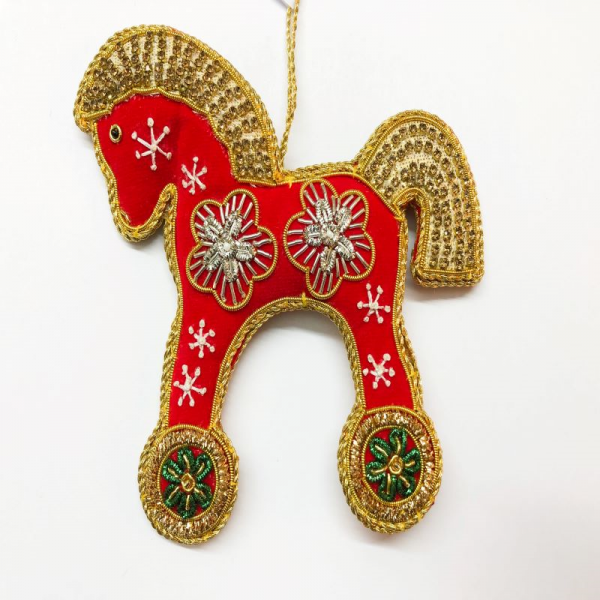 Red Rocking Horse on Wheels Christmas Decoration