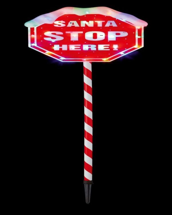 Santa Stop Here LED Sign