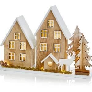Wooden Christmas House Scene with LEDs