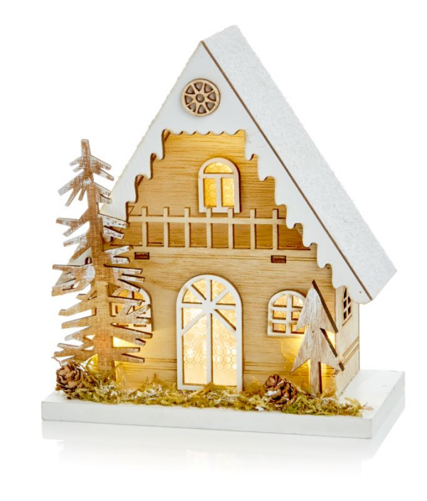 Wooden Christmas House with LEDs