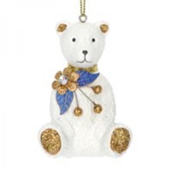 Gisela Graham Delft Teddy Bear Christmas Decoration