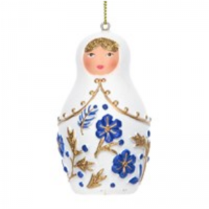 Gisela Graham Delft Babushka Doll Christmas Decoration