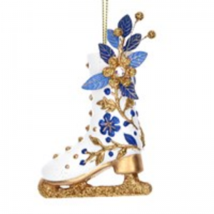 Gisela Graham Delft Ice Skating Boot Christmas Decoration