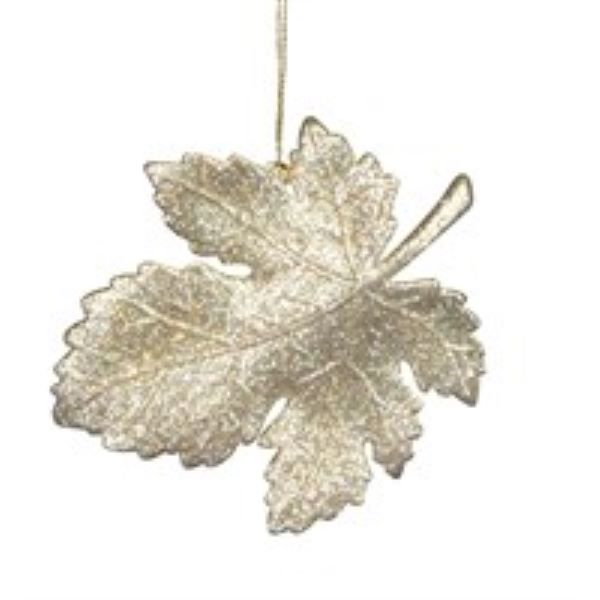 Gisela Graham Delft Leaf Glitter Christmas Decoration
