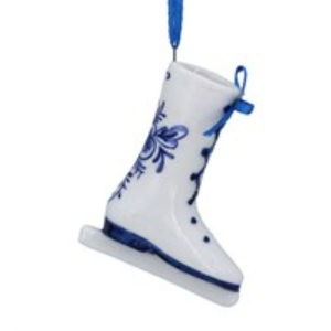 Gisela Graham Delft Ceramic Skating Boot Christmas Decoration
