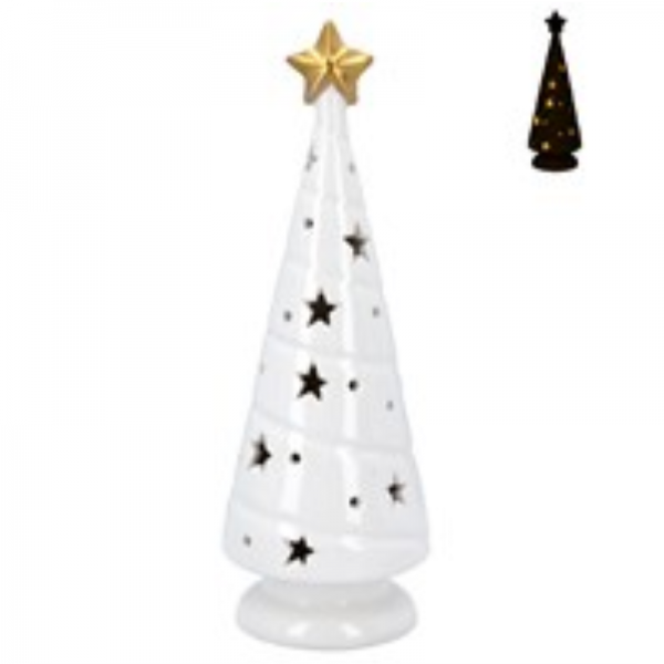 Ceramic LED Christmas Tree Ornament by Gisela Graham