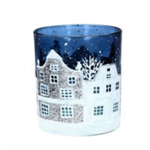 Small Glass Christmas Street Scene Tea Light Pot by Gisela Graham