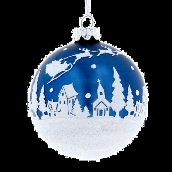 Blue Glass Bauble with Snowscene design