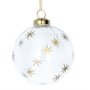 Clear Glass Bauble with Gold Etched Stars design