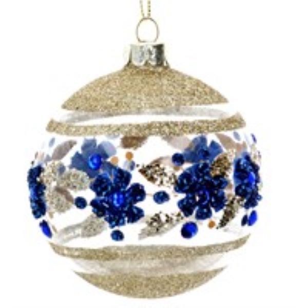 Glass Bauble with Blue and Gold Glitter Flowers design