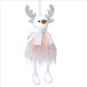 White Reindeer in Pink Fur Dress decoration