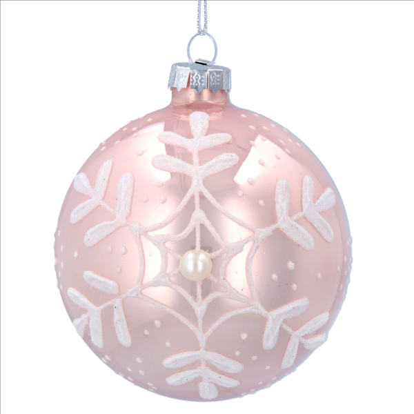 Pink Glass Bauble with White Snowflake print