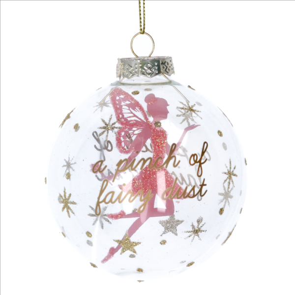 Clear Glass Bauble with Pink Stardust Fairy