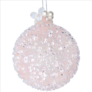 Glass Bauble with Pink Beads and Pearls