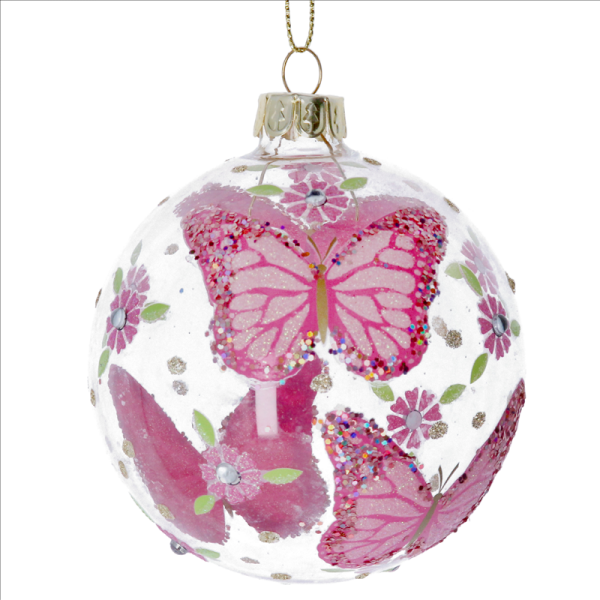 Glass Bauble with Pink Butterflies