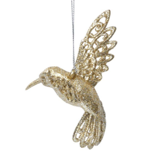 Gold Glitter Acrylic Hummingbird Decoration