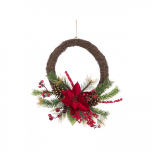 Poinsettia Berry Pine Wreath