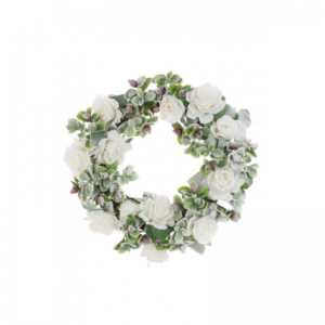 Snowy Rose Wreath