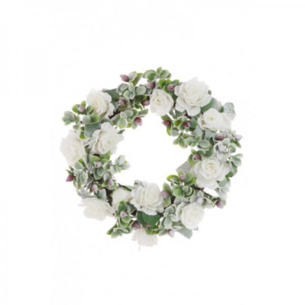 Snowy Rose Wreath