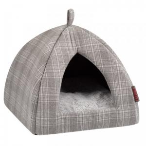 Grey Plaid Cat Igloo