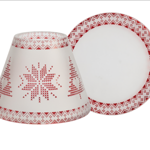 Red Nordic Frosted Glass Small Shade & Tray use with Small Jar Candles