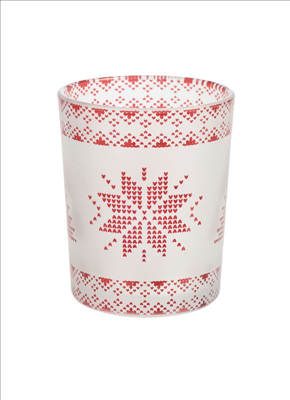 Red Nordic Frosted Glass Tealight/Votive Holder