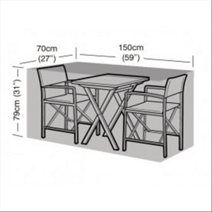 2 Seater Large Bistro Set Cover, Black