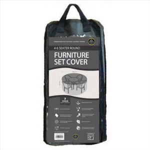 4-6 Seater Round Furniture Set Cover, Black