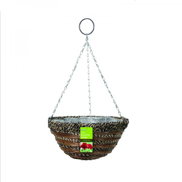 """35cm (14"""") Sisal Rope & Fern Hanging Basket"""