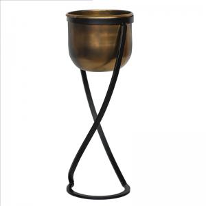 Kensington Brass Metal Planter & Stand 20cm