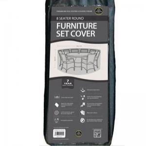 8 Seater Round Furniture Set Cover, Black