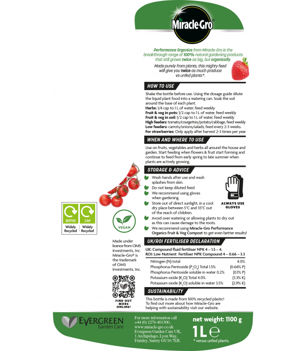 Proformance Fruit & Veg Liquid 1L