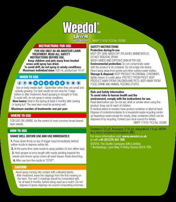 Weedol Gun Lawn Weedkiller 800ml +25%