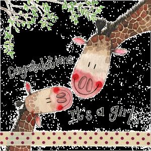 It's a Girl Giraffe Card