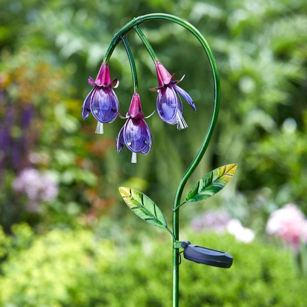 Fuchsia Solar Flower Stake
