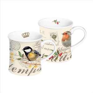 Songbird Porcelain Mugs Set Of 2