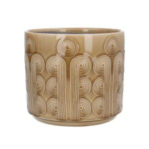 Mustard Retro Circles Ceramic Pot