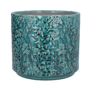 Teal Succulents Ceramic Pot