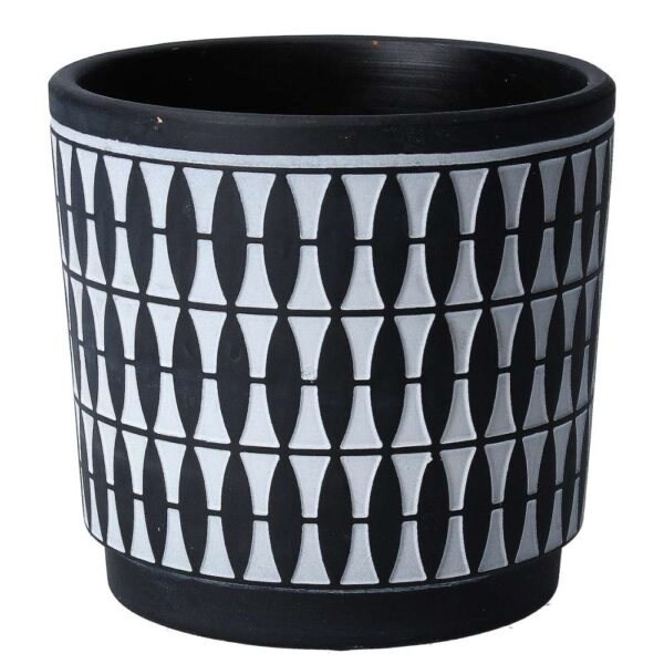 Black Geo Painted Pot Cover
