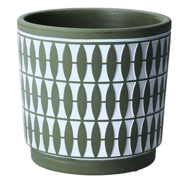 Green Geo Painted Pot Cover
